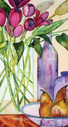 Tulips and Pears 2020 3.5 x 6.5 Inch Two Year Monthly Pocket Planner Calendar by Plato, Art Paintings Floral