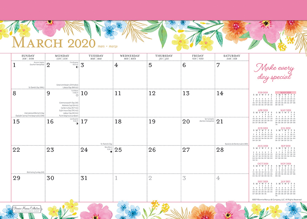 Bonnie Marcus 2020 14 x 10 Inch Monthly Desk Pad Calendar by Plato, Fashion Designer Stationery