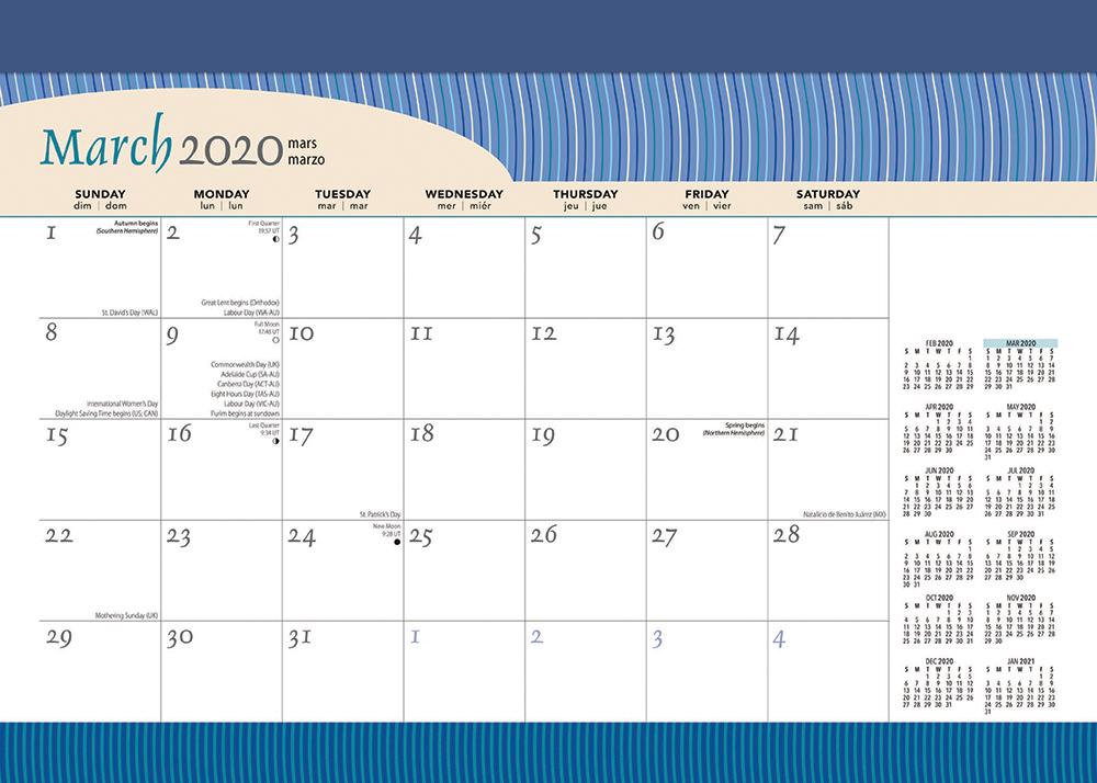Seaside Currents 2020 14 x 10 Inch Monthly Desk Pad Calendar by Plato, Ocean Sea Beach Art Design