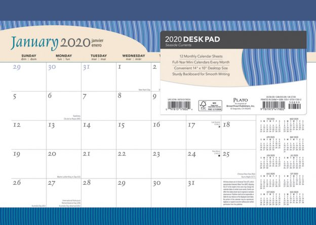 Seaside Currents 2020 14 x 10 Inch Monthly Desk Pad Calendar by Plato, Ocean Sea Beach Art Design