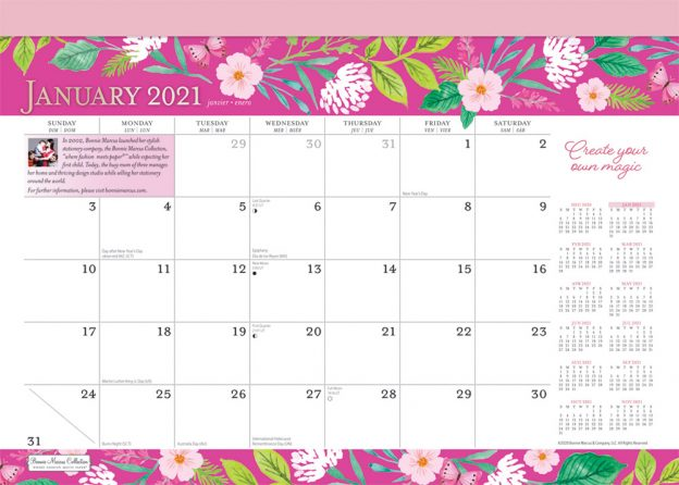 Bonnie Marcus 2021 14 x 10 Inch Monthly Desk Pad Calendar by Plato, Fashion Designer Stationery