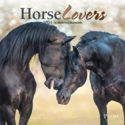 Horse Lovers 2021 7 x 7 Inch Monthly Mini Wall Calendar with Foil Stamped Cover by Plato, Animals Horses