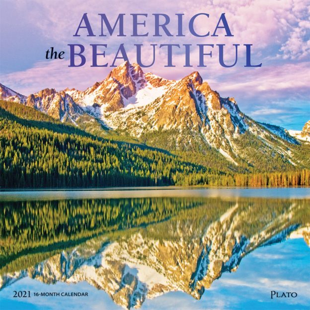America the Beautiful 2021 12 x 12 Inch Monthly Square Wall Calendar with Foil Stamped Cover by Plato, USA United States Scenic Nature