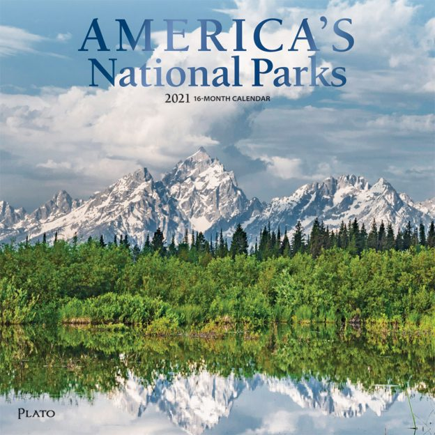 America's National Parks 2021 12 x 12 Inch Monthly Square Wall Calendar with Foil Stamped Cover by Plato, Yosemite Yellowstone