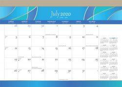 Seaside Currents 2021 14 x 10 Inch Monthly 18 Months Desk Pad Calendar by Plato, Ocean Sea Beach Art Design