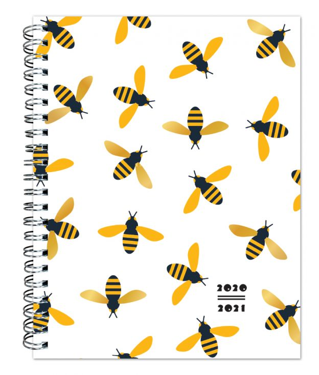 Busy Bees 2021 6 x 7.75 Inch Weekly 18 Months Desk Planner by Plato with Foil Stamped Cover, Planning Stationery