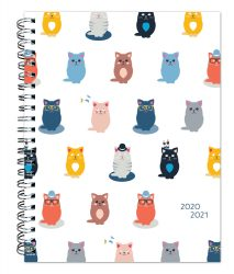 Masquerade Cats 2021 6 x 7.75 Inch Weekly 18 Months Desk Planner by Plato with Foil Stamped Cover, Planning Stationery