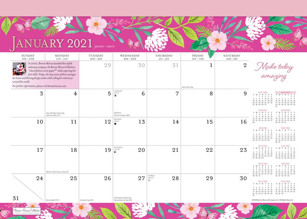 Bonnie Marcus 2021 14 x 10 Inch Monthly Desk Pad Calendar by Plato, Fashion Designer Stationery