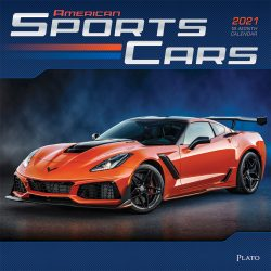 Sports Cars 2021 12 x 12 Inch Monthly Square Wall Calendar with Foil Stamped Cover by Plato, Racing Sports