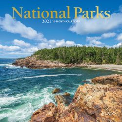 National Parks 2021 7 x 7 Inch Monthly Mini Wall Calendar with Foil Stamped Cover by Plato, USA United States of America Scenic Nature
