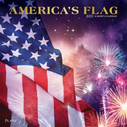 America's Flag 2021 12 x 12 Inch Monthly Square Wall Calendar with Foil Stamped Cover by Plato, USA United States of America