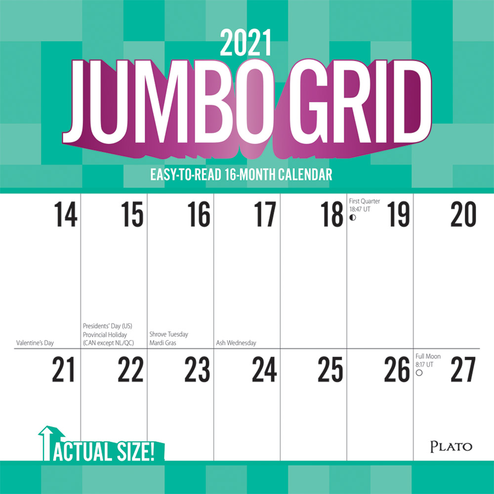 Jumbo Grid Large Print 2021 12 x 12 Inch Monthly Square Wall Calendar with Foil Stamped Cover by Plato, Easy to See with Large Font
