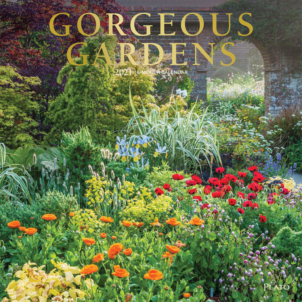 Gorgeous Gardens 2021 12 x 12 Inch Monthly Square Wall Calendar with Foil Stamped Cover by Plato, Gardening Outdoor Home Country Nature
