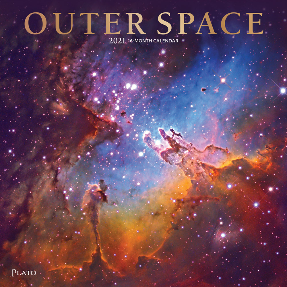 Outer Space 2021 12 x 12 Inch Monthly Square Wall Calendar with Foil Stamped Cover by Plato, Universe Cosmos Inspiration