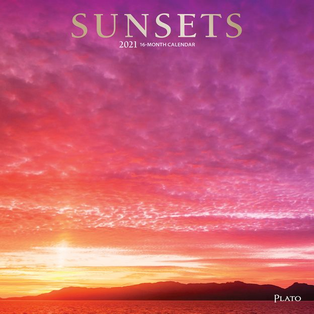 Sunsets 2021 12 x 12 Inch Monthly Square Wall Calendar with Foil Stamped Cover by Plato, Nature Photography Science