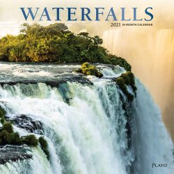 Waterfalls 2021 12 x 12 Inch Monthly Square Wall Calendar with Foil Stamped Cover by Plato, Nature Waterfall