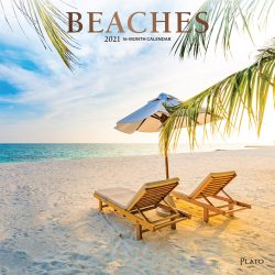 Beaches 2021 12 x 12 Inch Monthly Square Wall Calendar with Foil Stamped Cover by Plato, Travel Nature Tropical