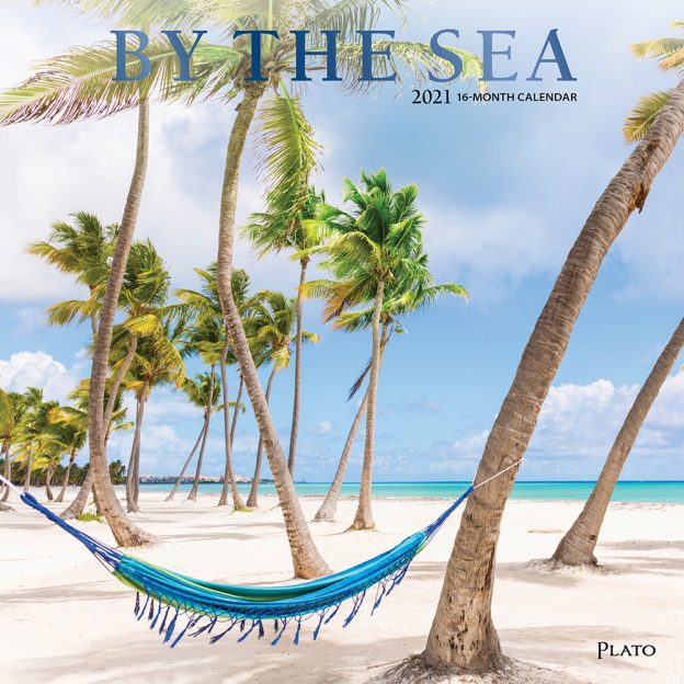 By the Sea 2021 12 x 12 Inch Monthly Square Wall Calendar with Foil Stamped Cover by Plato, Waves Sun Clear Blue Sky
