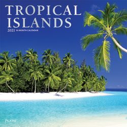 Tropical Islands 2021 12 x 12 Inch Monthly Square Wall Calendar with Foil Stamped Cover by Plato, Scenic Travel Tropical Photography