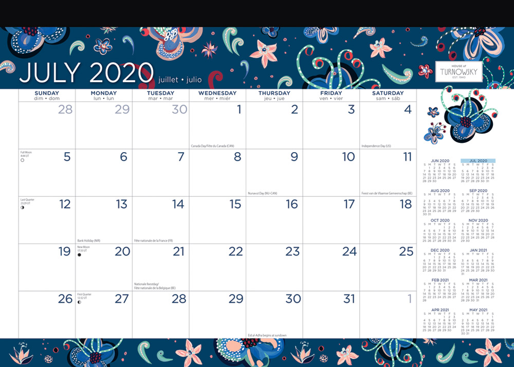 House of Turnowsky 2021 14 x 10 Inch Bellissima 18 Months Monthly Desk Pad Calendar, Stationery Elegant Exclusive
