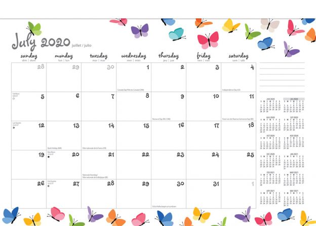 Happy Hues 2021 14 x 10 Inch 18 Months Monthly Desk Pad Calendar by Plato, Fashion Designer Stationery