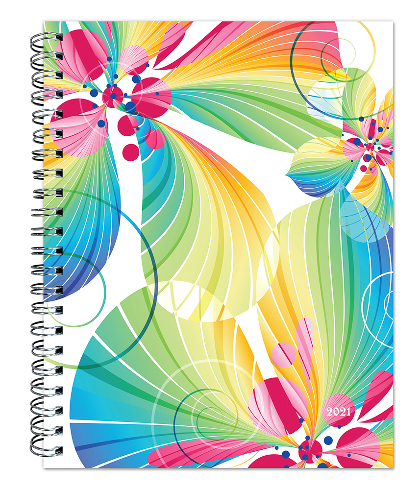 Blended Blossoms 2021 6 x 7.75 Inch Weekly Desk Planner by Plato, Planning Stationery
