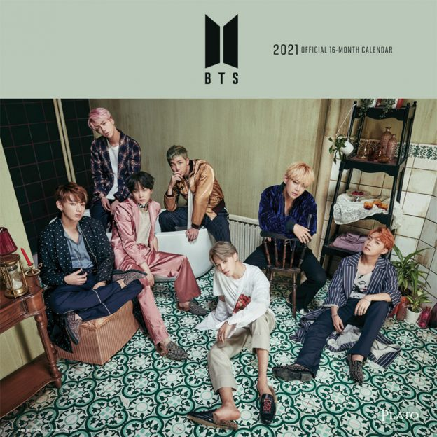 BTS OFFICIAL 2021 12 x 12 Inch Monthly Square Wall Calendar by Plato with Foil Stamped Cover, K-Pop Bangtan Boys Music