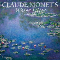 Claude Monet's Water Lilies 2021 12 x 12 Inch Monthly Square Wall Calendar with Foil Stamped Cover by Plato, Impressionism Art Artist Outdoor