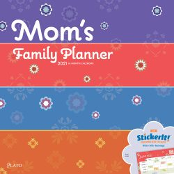 Mom's Family Planner 2021 12 x 12 Inch Monthly Square Wall Calendar by Plato, Planning Organization Family