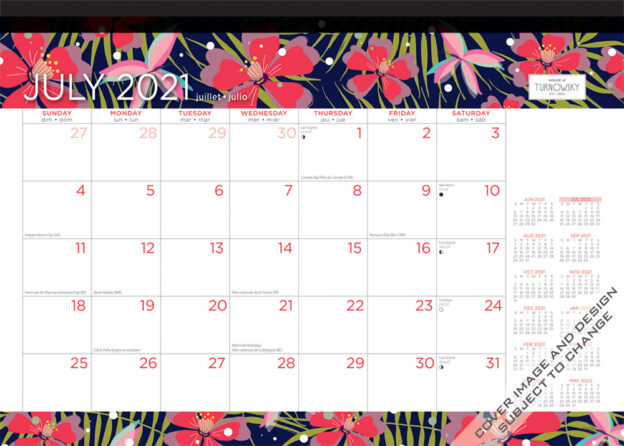House of Turnowsky 2022 14 x 10 Inch Fantasy Floral 18 Months Monthly Desk Pad Calendar by Plato, Stationery Elegant Exclusive