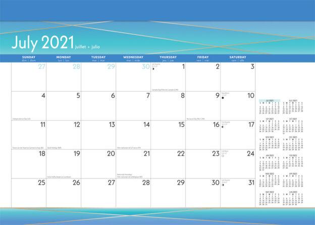 Seaside Currents 2022 14 x 10 Inch 18 Months Monthly Desk Pad Calendar by Plato, Ocean Sea Beach Art Design