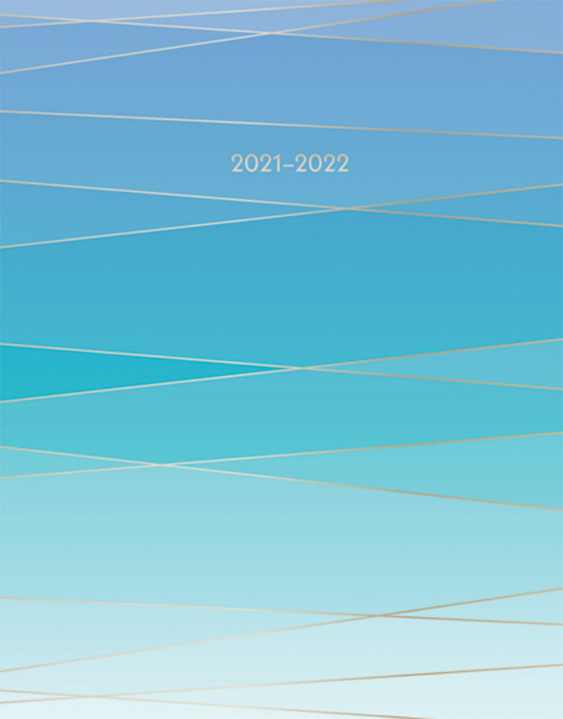 Seaside Currents 2022 6 x 7.75 Inch 18 Months Weekly Desk Planner with Foil Stamped Cover by Plato, Planning Stationery