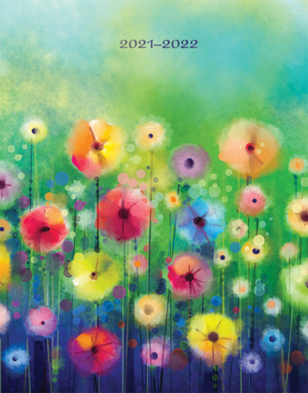 Floral Fireworks 2022 6 x 7.75 Inch 18 Months Weekly Desk Planner with Foil Stamped Cover by Plato, Planning Stationery