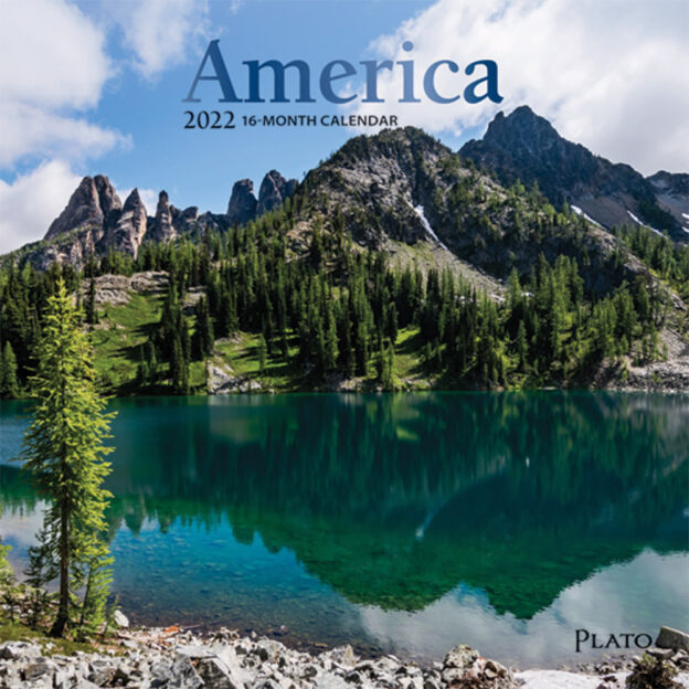America 2022 7 x 7 Inch Monthly Mini Wall Calendar with Foil Stamped Cover by Plato, USA United States