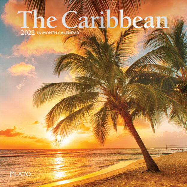 The Caribbean 2022 7 x 7 Inch Monthly Mini Wall Calendar with Foil Stamped Cover by Plato, Travel Nature Beach Tropical