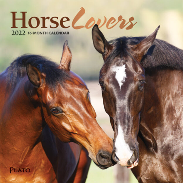 Horse Lovers 2022 7 x 7 Inch Monthly Mini Wall Calendar with Foil Stamped Cover by Plato, Animals Equestrian