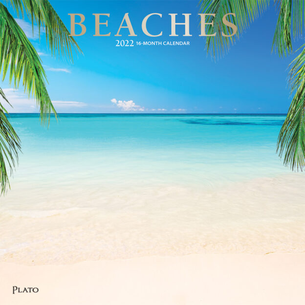 Beaches 2022 12 x 12 Inch Monthly Square Wall Calendar with Foil Stamped Cover by Plato, Travel Nature Tropical