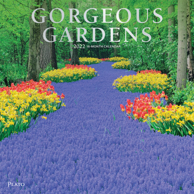 Gorgeous Gardens 2022 12 x 12 Inch Monthly Square Wall Calendar with Foil Stamped Cover by Plato, Outdoor Home Country Nature