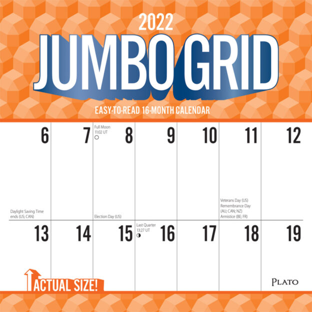 Jumbo Grid Large Print 2022 12 x 12 Inch Monthly Square Wall Calendar with Foil Stamped Cover by Plato, Easy to See with Large Font