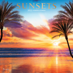 Sunsets 2022 12 x 12 Inch Monthly Square Wall Calendar with Foil Stamped Cover by Plato, Nature Photography Science