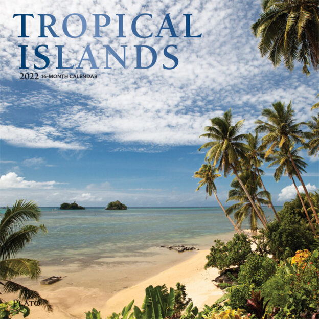 Tropical Islands 2022 12 x 12 Inch Monthly Square Wall Calendar with Foil Stamped Cover by Plato, Scenic Travel Photography