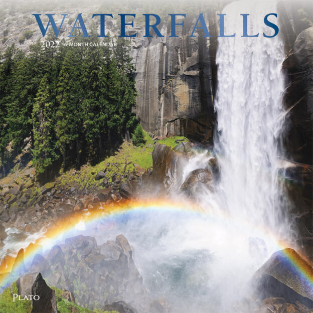 Waterfalls 2022 12 x 12 Inch Monthly Square Wall Calendar with Foil Stamped Cover by Plato, Nature River Lake