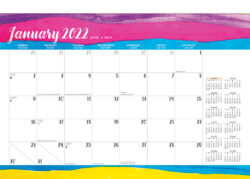 Happy Hues 2022 14 x 10 Inch Monthly Desk Pad Calendar by Plato, Fashion Designer Stationery