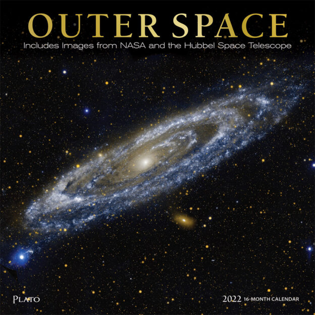 Outer Space 2022 12 x 12 Inch Monthly Square Wall Calendar with Foil Stamped Cover by Plato, Universe Cosmos Inspiration