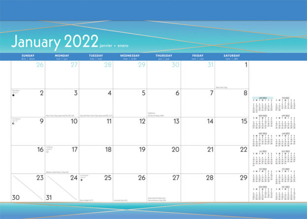 Seaside Currents 2022 14 x 10 Inch Monthly Desk Pad Calendar by Plato, Ocean Sea Beach Art Design