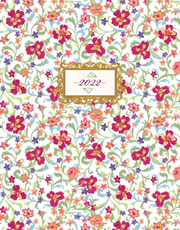 Tuscan Treasure 2022 6 x 7.75 Inch Weekly Desk Planner with Foil Stamped Cover by Plato, Planning Stationery