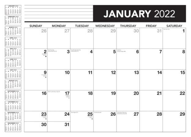 Officeworks 2022 14 x 10 Inch 18 Months Monthly Desk Pad Calendar by Plato, Planning Designer Stationery