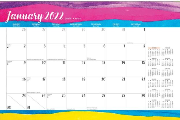 Happy Hues 2022 14 x 10 Inch 18 Months Monthly Desk Pad Calendar by Plato, Fashion Designer Stationery