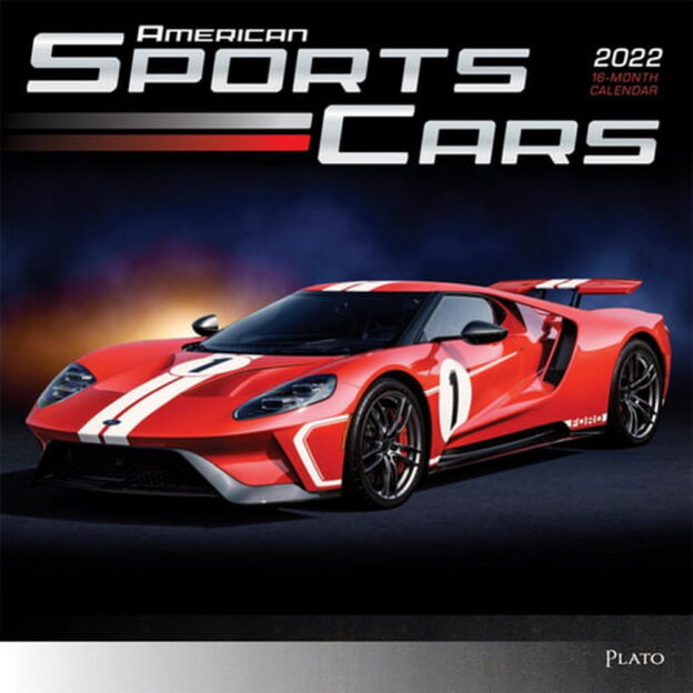 American Sports Cars 2022 12 x 12 Inch Monthly Square Wall Calendar with Foil Stamped Cover by Plato, Racing Automotive